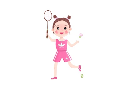 A little girl playing badminton