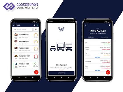 Waahan - Smart Fleet Management App mobile ui mobile design android app android app design logistics app ux ui app