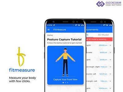Fitmeasure Human Body Measurement AI app mobile ui mobile design ai apps android app design android app ux ui
