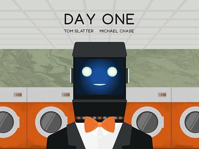 Day One Poster IG 043 illustrator digital illustration poster laundrette futuristic robot robotics robots science fiction short film