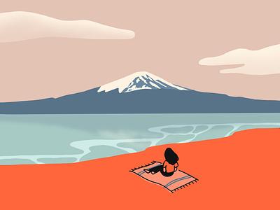 Mount Fuji flat illustration landscape illustration travel illustration japanese illustration digitalart applepencilillustration applepencil illustration digital procreate illustrator japan mount fuji fuji