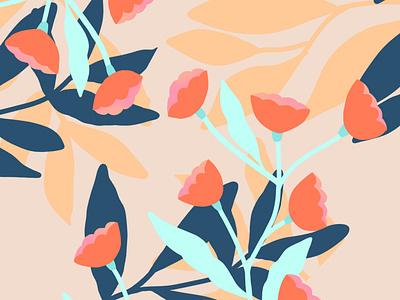 Flora tulips flat illustration pastel pattern design floral pattern pattern flowers applepencil digitalart applepencilillustration design illustration digital procreate illustration floral