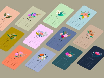 2021 Calendar typography graphicdesign flowers floral floral illustration 2021 madewithprocreate calendar applepencilillustration design illustration illustration digital procreate applepencil