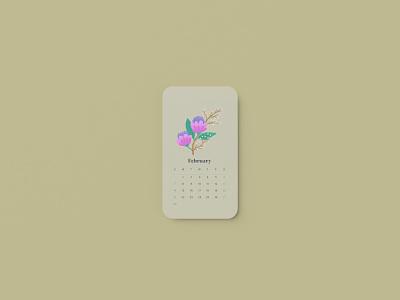 February 2021 Calendar florals digitalart procreate flat applepencil sketch madewithprocreate flowers pastel 2021 february 2021 calendar floral illustrator illustration