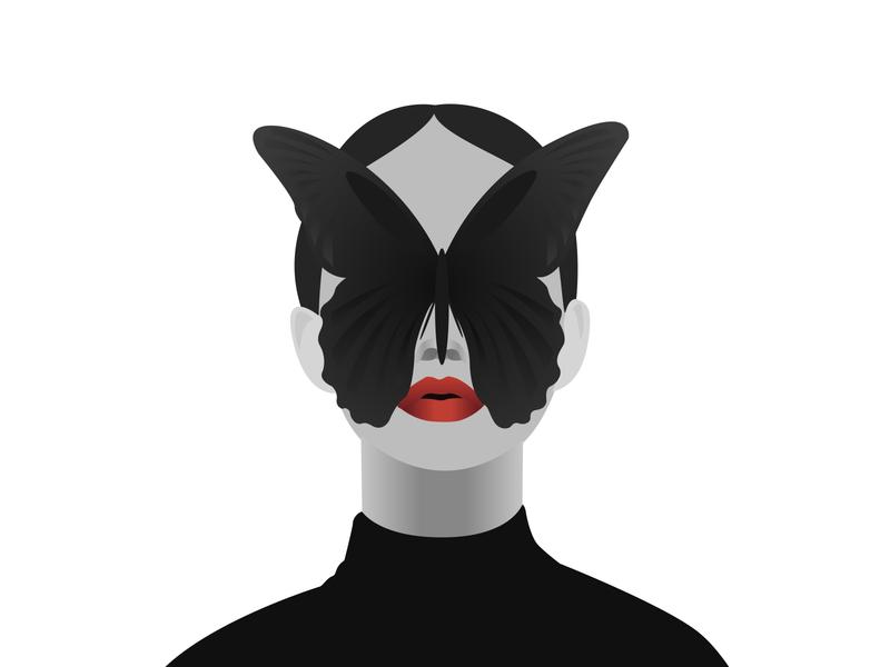 black butterfly dream branding fashion фантазия logo art design vector illustration