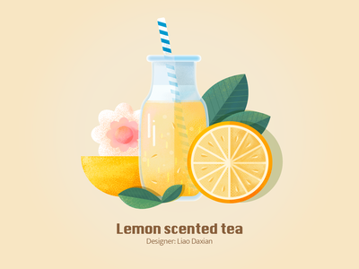 Lemon scented tea seasonal fruits vector design illustration