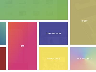 Rainbow Hover States portfolio design rainbow colors hover grid reboot portfolio