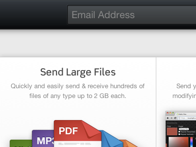 Send Large Files transfers black grey white input placeholder box-shadow icons linear-gradient
