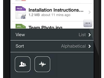 Onehub File Settings onehub files list settings icons ios 7 file types