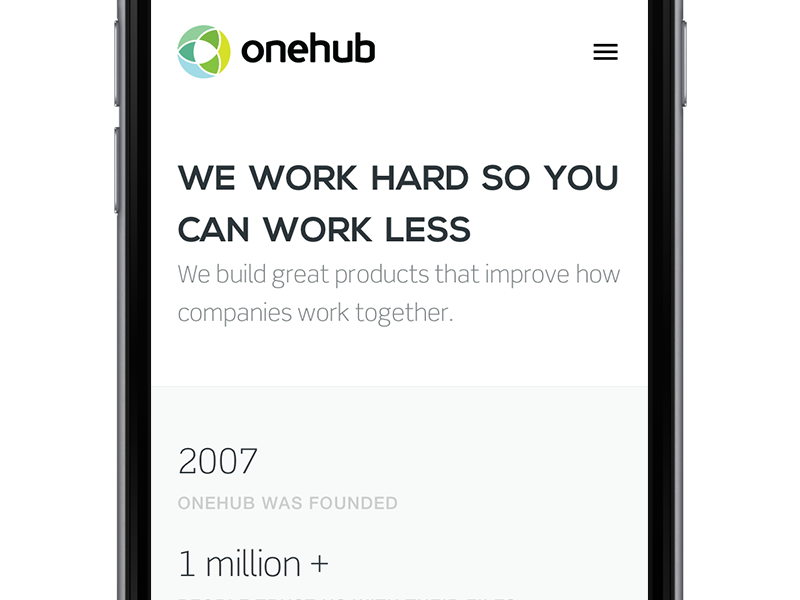 About on iPhone stats scene nexa hamburger logo iphone responsive onehub