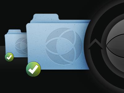 Vicious Circle onehub sync folder badge black blue green grey arrows