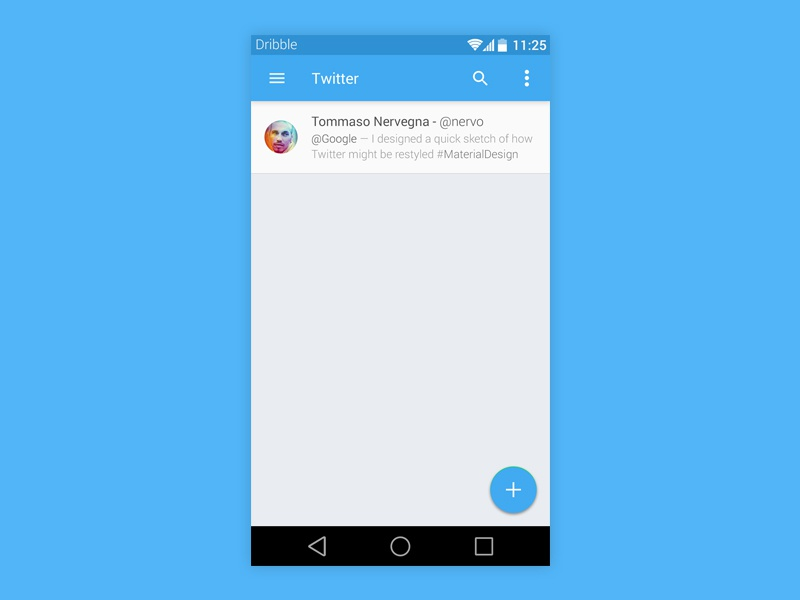 Twitter Android L twitter android l material design responsive tweet feed psd freebie
