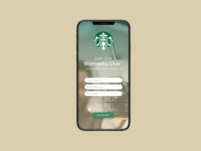 Starbucks sign up screen - DailyUI 001