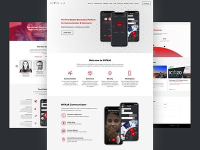 Nynja Marketing Website mobile app crypto currency blockchain design ux web ui