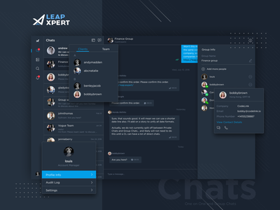 LeapXpert - Web Chat dark theme dark ui communication integrations chat profile ux ui design web