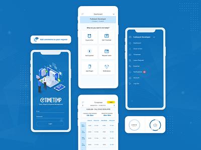 TimeTemp Mobile management time tracking blue flat design recruitment agency recruiting recruitment employment mobile app ux design ui