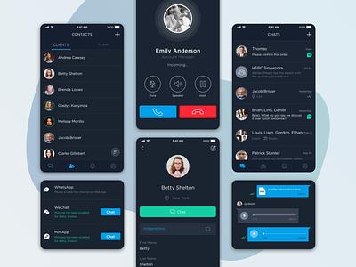 LeapXpert - Integrated Chats dark ui black mobile finance app chat wechat design uxui ux ui