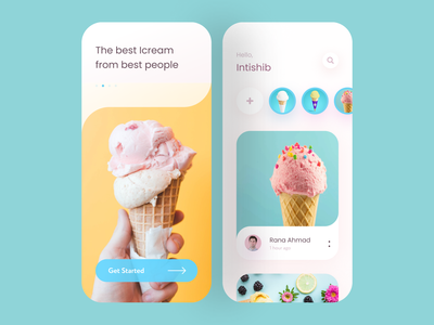 Ice cream App flat icecream uiux design branding ux ui app ui design uidesign app design application web food food app restaurant dailyui daily ui minimal designer