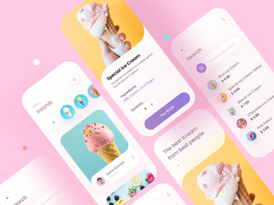 Ice cream App designer minimal daily ui dailyui restaurant food app food web application app design uidesign ui design app ui ux branding design uiux icecream flat