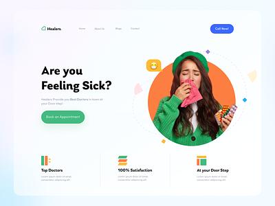 Landing Page UI designs doctor webdesign ux design branding flat ui design uidesign ui  ux uiux ui web covid19 health medical dailyui daily ui minimal designer