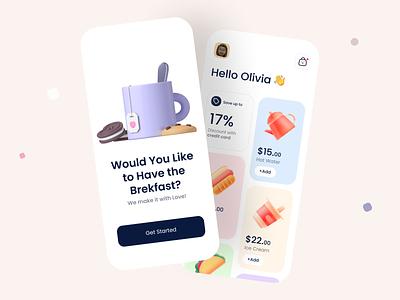 Breakfast App 😋 breakfast dailyuichallenge ux  ui mobile minimalist minimal flat food dailyui daily ui web app design ui design uidesign app branding uiux ux design ui
