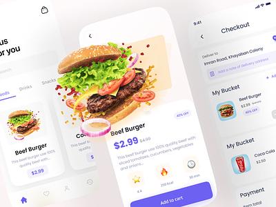 FOOD APP 🍔 minimalist flat design uxui branding ux app ui ui design uidesign app design application web food food app restaurant dailyui daily ui minimal designer