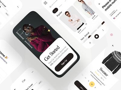 E-Commerce App ui uidesign app branding uiux ux design shopping dark black eccomerce minimal minimalist flat ecommerce app cart delivery app fashion store web