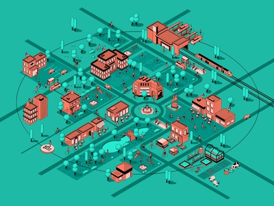 Pandemic Spectrum Map graphicdesign webdesign branding cover isometric illustration isometric design isometric icons isometric art spectrum social distance public space neighborhood map isometric city isometric pandemic epidemic book cover design book cover illustration