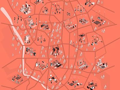 Pandemic Spectrum 02 Map mapdesign pandemic map bookcover design character design digital illustration graphic design branding illustration