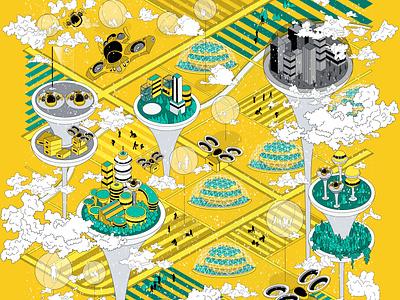 Pandemic Spectrum 03 book cover heterotopia dystopia utopia map design digital illustration branding graphic design illustration