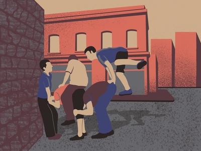 Street game: leapfrogging
