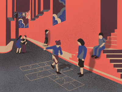 Street Games: hopscotch, blindmans buff