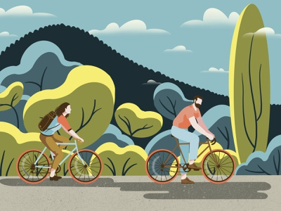 Cycling 🚵🏻♀️ 🚵🏻♂️ uidesign product design animation design animation motion motion design landscape bicycle cycling character design characterdesign poster design digital illustration webdesign procreate graphic design digital painting digital art branding illustration