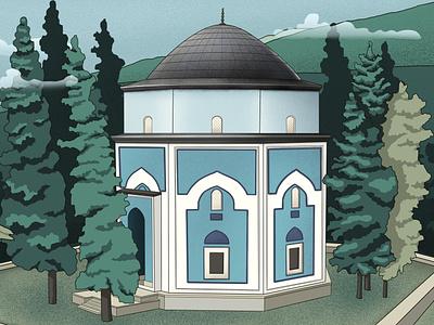 Green Shrine | Bursa | Turkey greenshrine adobe illustration architect adobe photoshop digital illustration branding architectural illustration webdesign graphic design digital art procreate illustration