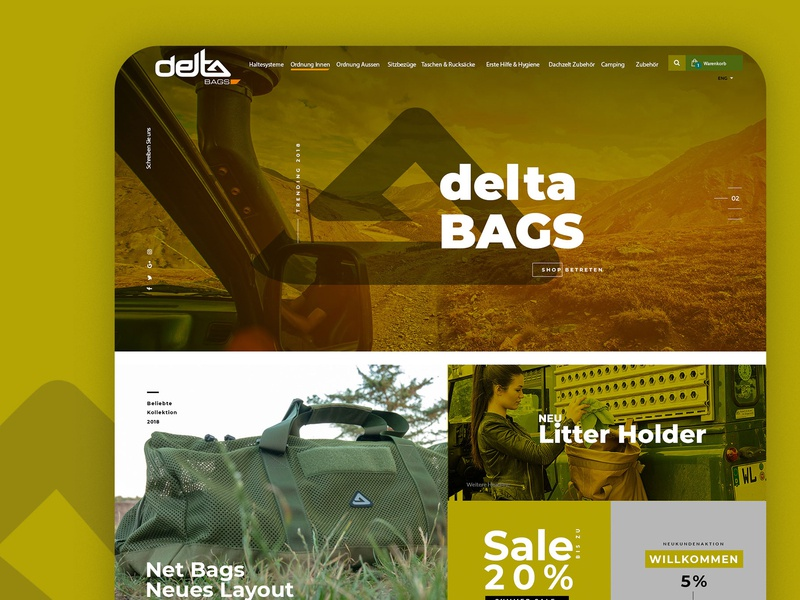 Webdesign for Offroad Accessoires flat website branding typography ux web design