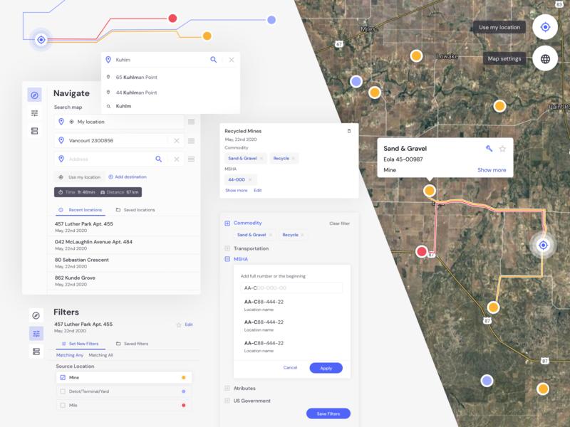 Heavy Construction Logistics Startup analytics uxresearch webdevelopment uiconcept components webdesign google maps designsystem startup reactjs react uiux uxui maps map analysis gis uxdesign uidesign
