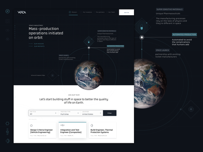 Varda Space Industries Landing Page Concept earth illustration space ui design spacetech spacetechnology cosmos spacescience spaceman spacex landing page design landing page landingpage uxdesign uiux ux uidesign spaceindustries vardaspace varda