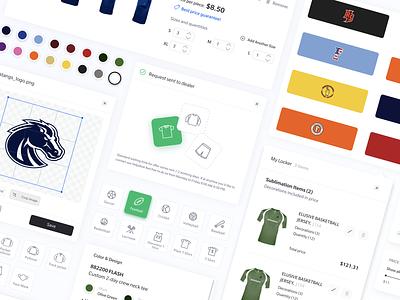 Gameplan UI Components salesrep saas configurator clean uxui webdesign athlete sports nba nfl jersey ui design uicomponents components designsystem design system uxdesign uidesign