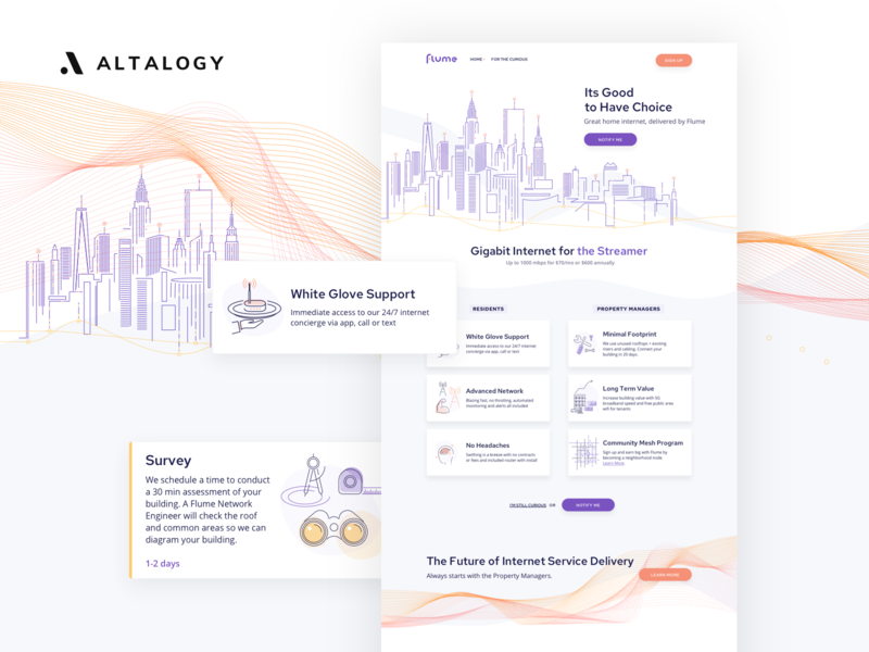 Flume Landing Page brand identity uxui icons clean ui clean design cityscape network internet illustration logo web design landing page design landing page branding webdesign inspiration ux ui uxdesign uidesign