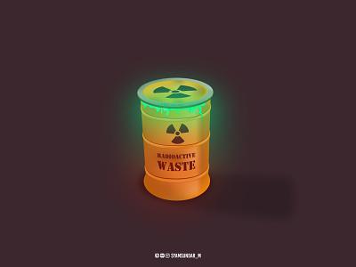 Radioactive Waste objects adobe dribbble shot illustrator dribbble illustration 3d