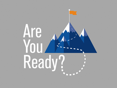 Are You Ready? clean simple vector ryan roehl identity blue grey orange flat flat design icon