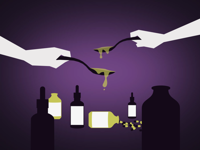 Heal Me Please saul bass medicine sick purple yellow hands spoon holding pills flat flat design illustration