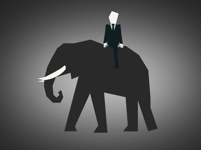 Business Man Riding Elephant saul bass elephant business man grey riding flat flat design illustration