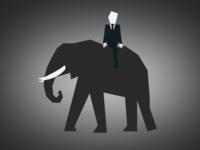Business Man Riding Elephant