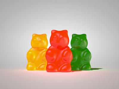 Gummy Bears c4d 3d gummy bears green red orange yellow yummy food bear glossy shiny