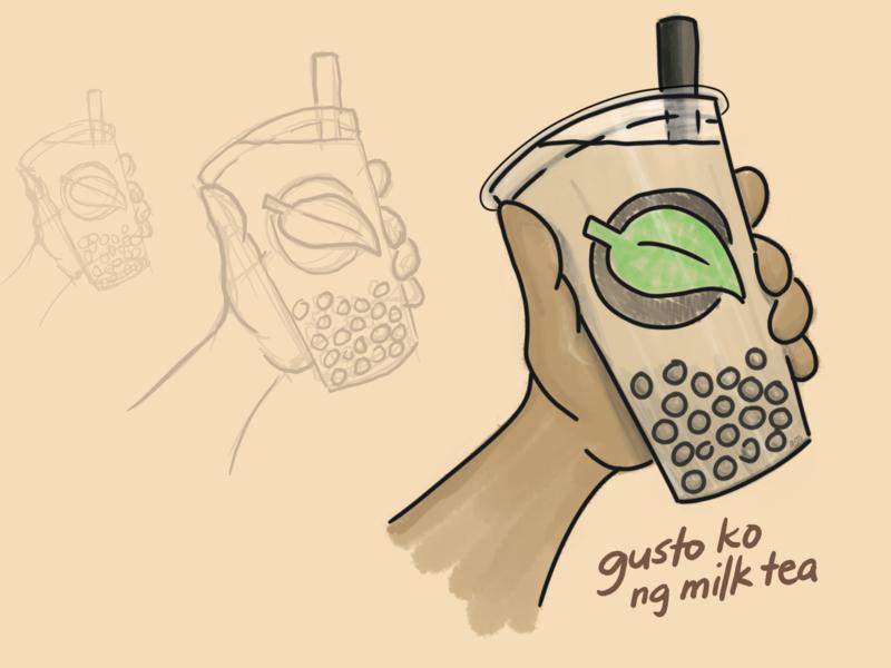 I want bubble milk tea tapioca tea nai cha pearl milk tea boba tagalog tea leaf logo doodles enhanced community quarantine shelter at home illustration drink pearls bubble tea