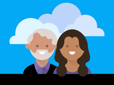 """This Week in Google"" Googlified this week in google avatar vector illustration flat twig clouds jeff jarvis gina trapani material design people"