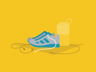 Going for a run material design today calendar vector app illustration music shoestring earphones tumbler water shoes running