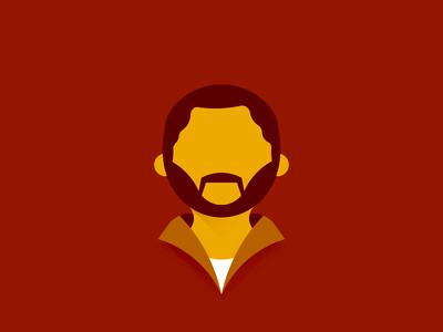 Guy With A Beard material design long shadow flat vector illustration people man avatar white shirt collar beard mustache