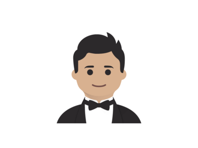 Ben's Avatar bowtie portrait profile face flat gentleman avatar people suit character illustration vector